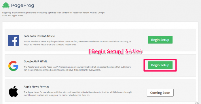 Facebook Instant Articles & Google AMP Pages by PageFrogの使い方と設定方法-4